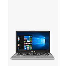 "Buy ASUS VivoBook Pro N705UD-GC155T Laptop, Intel Core i7, 8GB, 1TB + 256 SSD, GeForce GTX 1050, 17.3"", Grey Online at johnlewis.com"