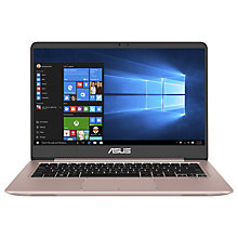 "Buy ASUS Zenbook UX410UA-GV362T Laptop, Intel Core i5, 8GB, 256GB SSD, 14"", Rose Gold Online at johnlewis.com"