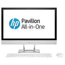 Buy HP Pavilion 24-r077na All-in-One PC Desktop, Intel Core i7, 8GB RAM, 1TB HDD, AMD Radeon 530 2GB, Full HD, Blizzard White Online at johnlewis.com