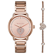 Buy Michael Kors MK3827 Women's Portia Bracelet Strap Watch And Heart Chain Bracelet Gift Set, Rose Gold Online at johnlewis.com