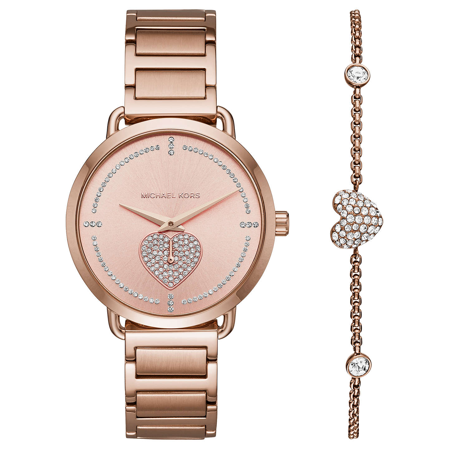 Michael Kors Mk3827 Women S Portia Bracelet Strap Watch And Heart Chain Gift Set Rose