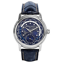 Buy Frédérique Constant FC-718NWM4H6 Men's World Time Date Alligator Leather Strap Watch, Navy Online at johnlewis.com
