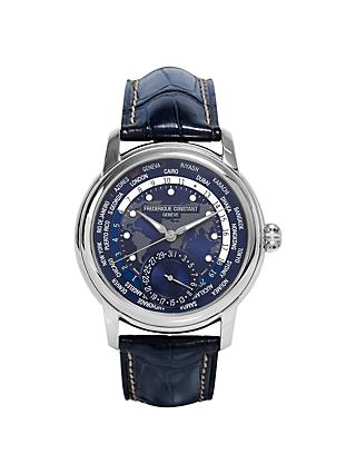 Frédérique Constant FC-718NWM4H6 Men's World Time Date Alligator Leather Strap Watch, Navy