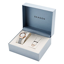 Buy Skagen SKW1101 Women's Freja Watch and Katrine Necklace Gift Set, Silver/White Online at johnlewis.com
