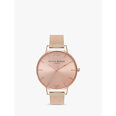 Olivia Burton OB16BD102 Women's Sundial Mesh Bracelet Strap Watch, Rose Gold/Pink