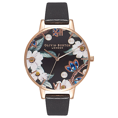Olivia Burton OB16BF04 Women's Bejewelled Florals Leather Strap Watch, Black/Multi