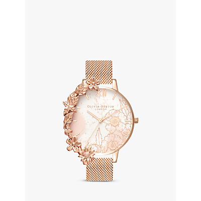 Olivia Burton OB16CB13 Women's Floral Cuffs Bracelet Strap Watch, Rose Gold