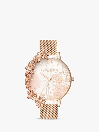 Olivia Burton OB16CB13 Women's Floral Cuffs Bracelet Strap Watch, Rose Gold