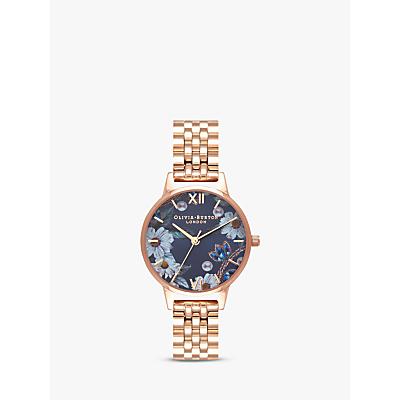 Olivia Burton OB16BF17 Women's Bejewelled Florals Bracelet Strap Watch, Gold/Blue
