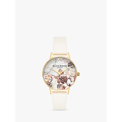 Olivia Burton OB16CS15 Women's Marble Florals Leather Strap Round Watch, Nude