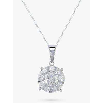 E.W Adams 18ct White Gold Round Diamond Cluster Pendant Necklace