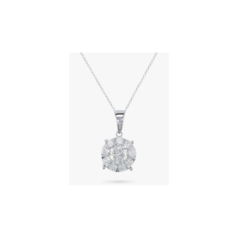 Ewa 18ct white gold round diamond cluster pendant necklace at john lewis buyewa 18ct white gold round diamond cluster pendant necklace online at johnlewis aloadofball Image collections
