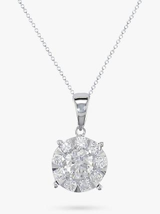 E.W Adams 18ct White Gold Round Diamond Cluster Pendant Necklace