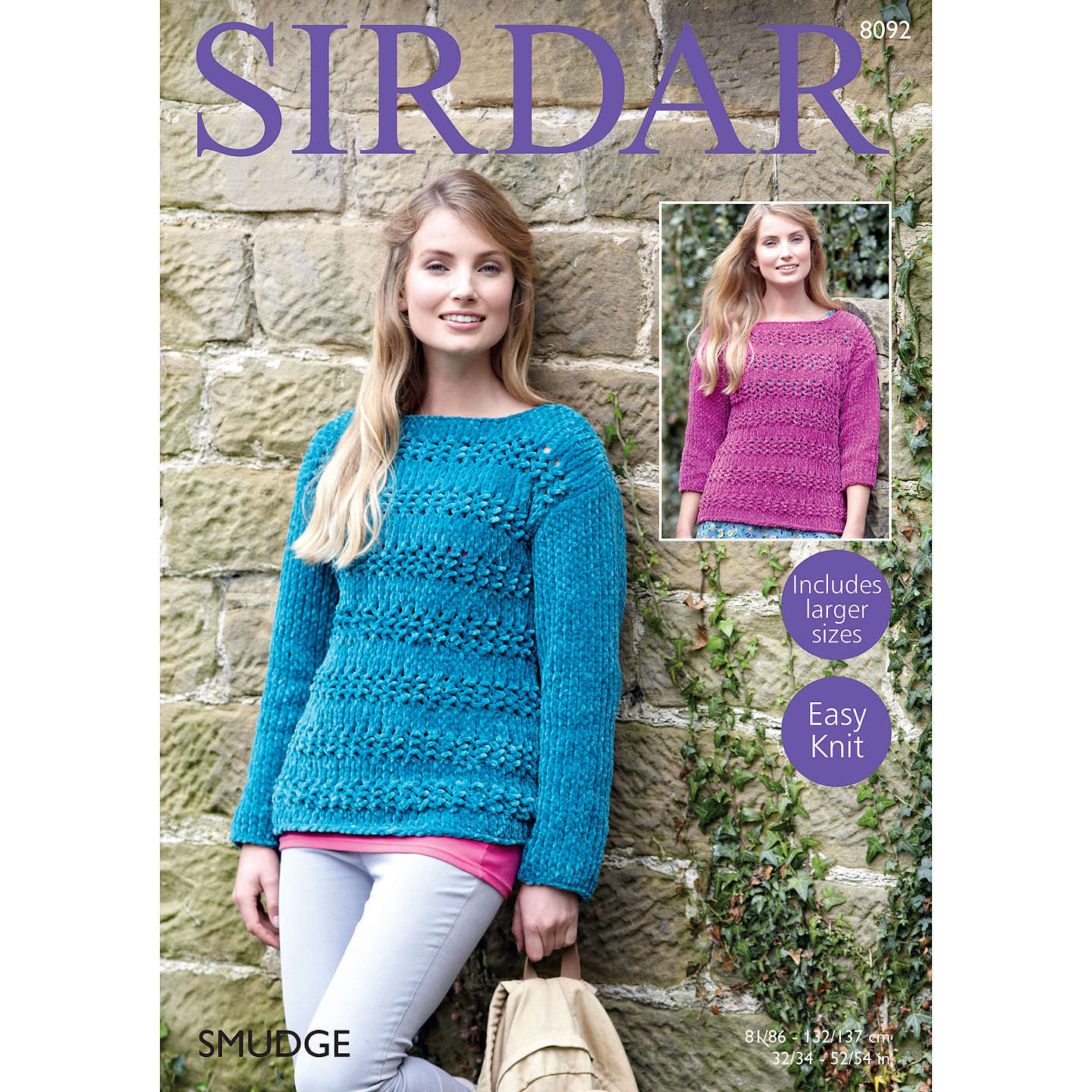 Sirdar Smudge Women\'s Jumper Knitting Pattern, 8092 at John Lewis