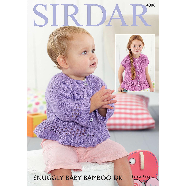 Sirdar Snuggly Baby Bamboo DK Cardigan Knitting Pattern, 4886 at ...