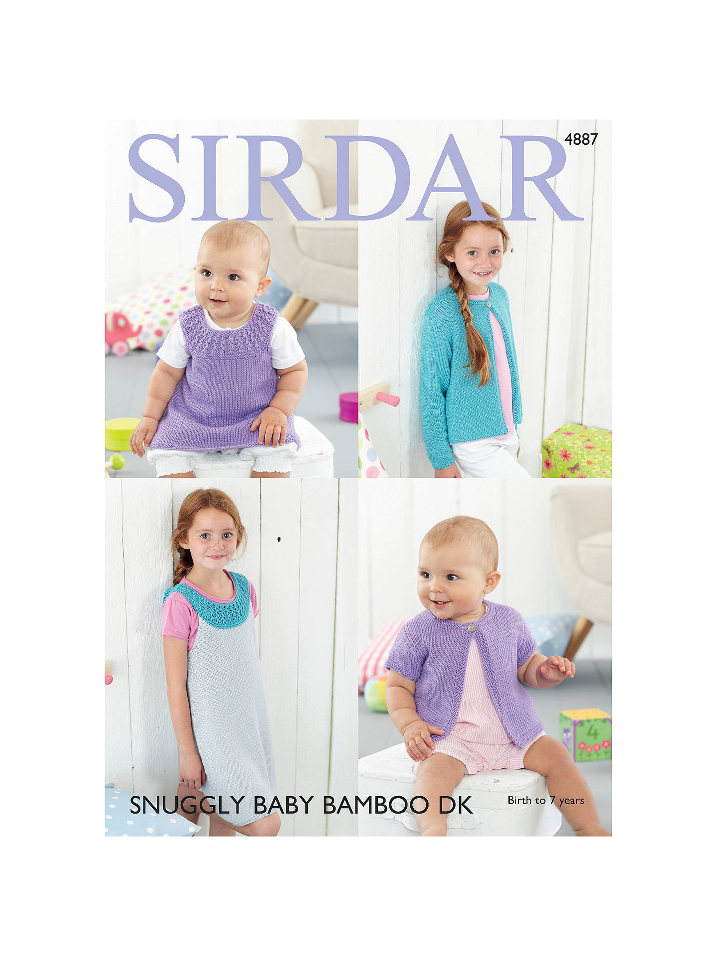 Sirdar Snuggly Baby Bamboo DK Cardigan And Dress Knitting Pattern ...