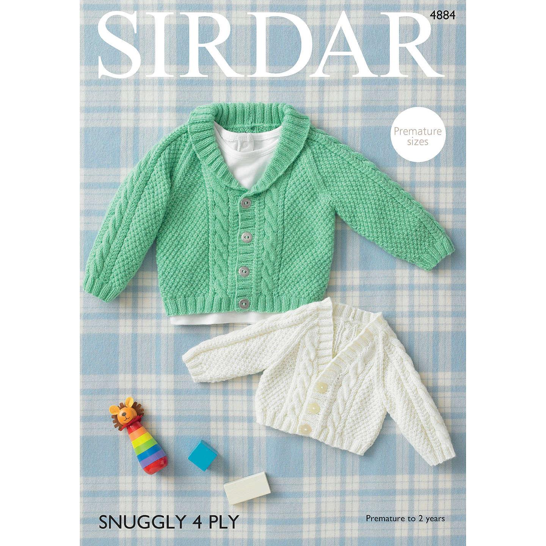 Sirdar Snuggly 4 Ply Baby Cardigan Knitting Pattern, 4884 at John Lewis