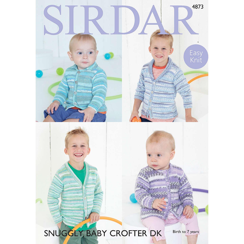 Sirdar Snuggly Baby Crofter DK Cardigan Knitting Pattern, 4873 at ...