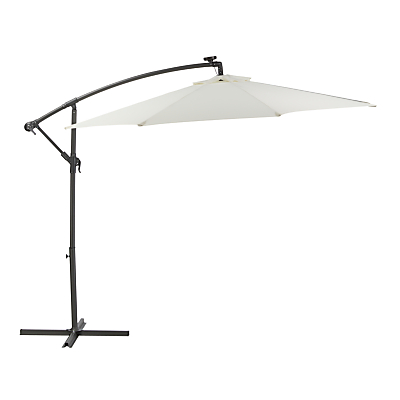 John Lewis 3m Freestanding LED Lights Parasol, Oyster