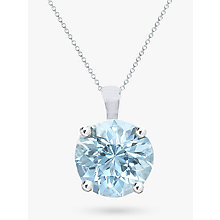 Buy EWA 9ct White Gold Aquamarine Pendant Necklace, Blue Online at johnlewis.com