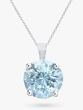 E.W Adams 9ct White Gold Aquamarine Pendant Necklace, Blue