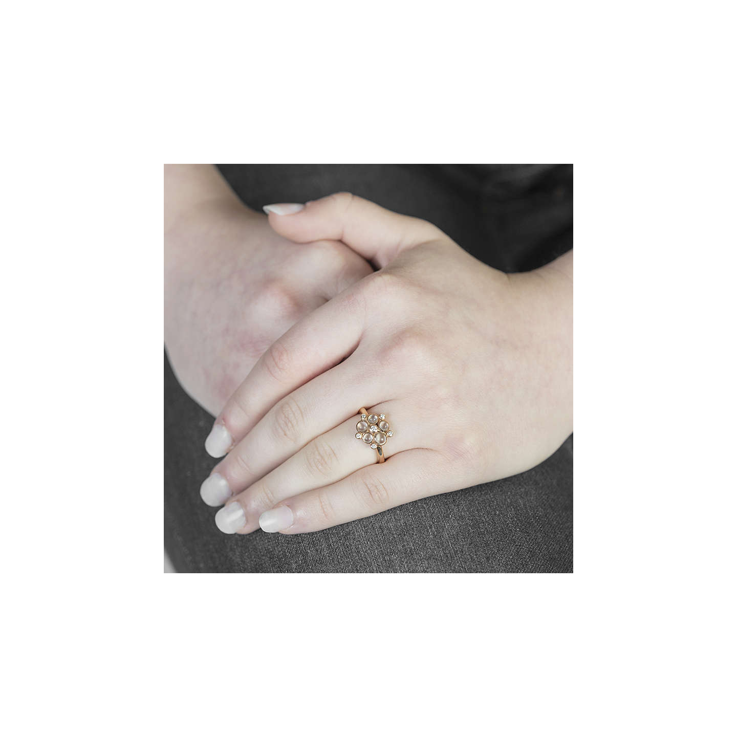 BuyLondon Road 9ct Gold Diamond Bubble Cluster Ring, Rose Gold/Moonstone Online at johnlewis.com