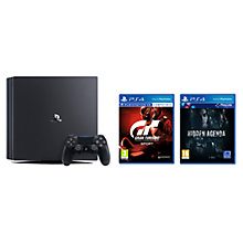 Buy Sony PlayStation 4 Pro Console, 1TB, with DualShock 4 Controller, Jet Black, Gran Turismo Sport and Hidden Agenda Online at johnlewis.com