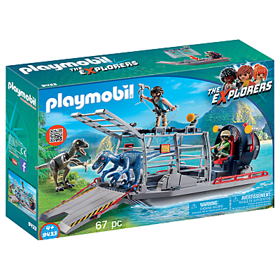Playmobil The Explorers 9433 Enemy Airboat With Raptor