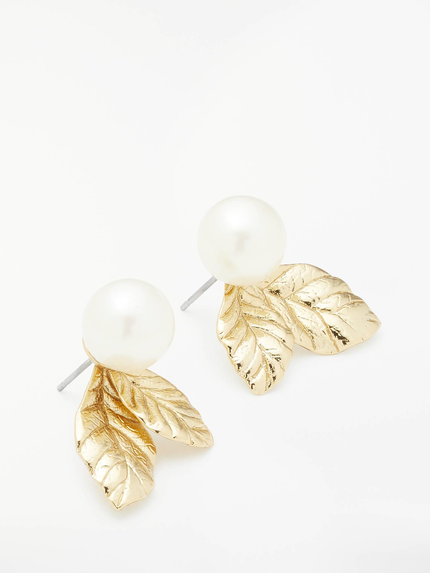 3d9693543af92 kate spade new york Mini Faux Pearl Leaf Stud Earrings, Gold at John ...