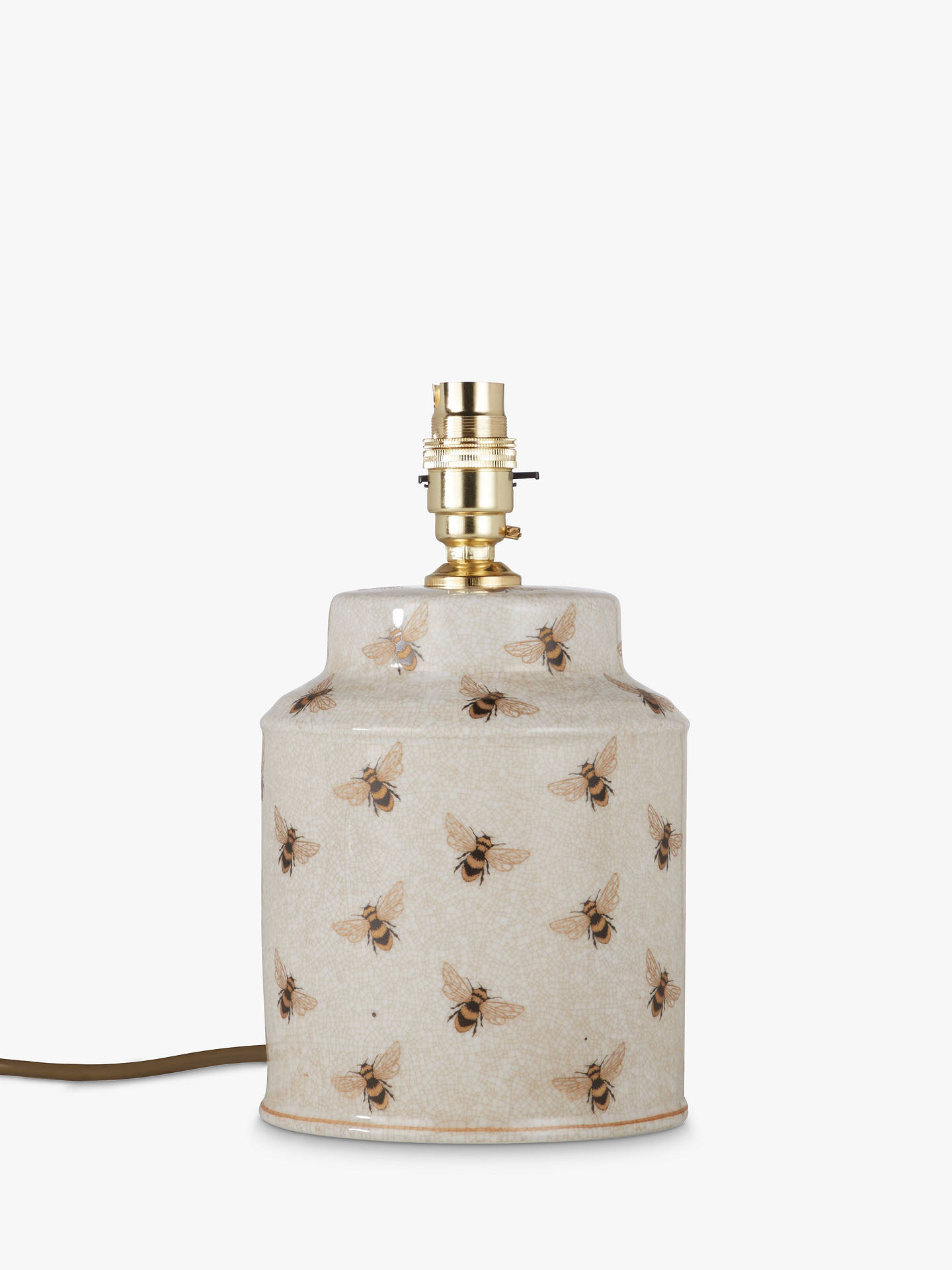India Jane Bee Canister Jar Crackle Glazed Ceramic Lamp Base, Natural, H25cm