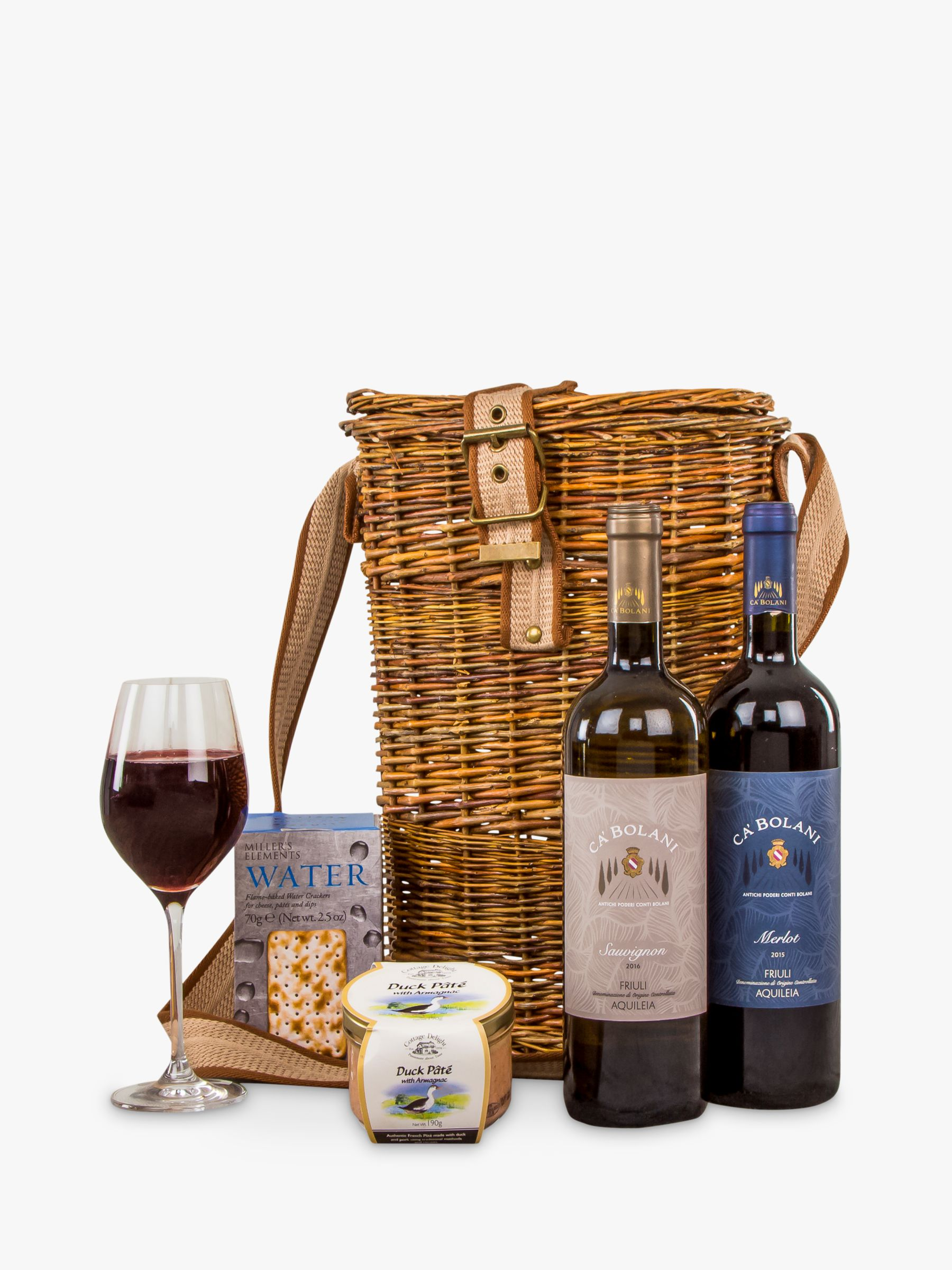 John Lewis Partners Wine Duo And Nibbles Hamper At Bola Basket Linning