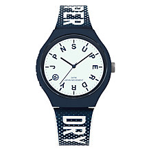 Buy Superdry Men's Urban Logo Indices Silicone Strap Watch, Blue/White Online at johnlewis.com