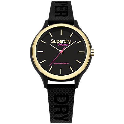 Superdry SYL151BG Women's Sapporo Silicone Strap Watch, Black