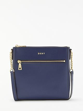 60d1d2d74170 DKNY Chain Item Leather Top Zip Cross Body