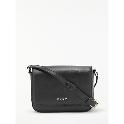 DKNY Bryant Paige Leather Flapover Cross Body Bag, Black