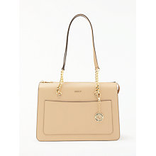 Buy DKNY Chain Item Large Leather Top Zip Tote Bag, Eggnog Online at johnlewis.com