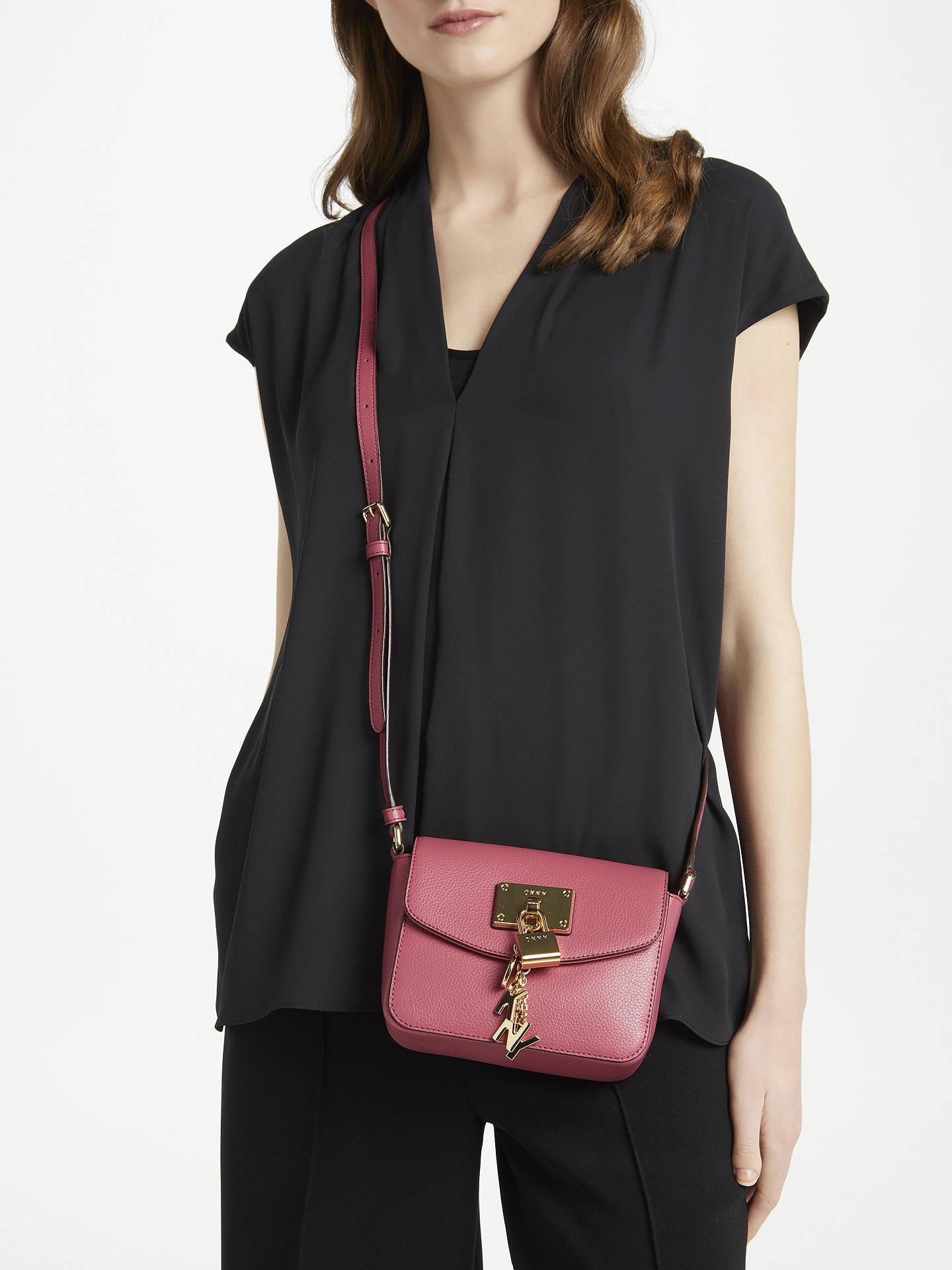 0c1faa471 ... Buy DKNY Elissa Charm Detail Small Leather Cross Body Bag, Hot Pink  Online at johnlewis