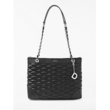 Buy DKNY Diamond Quilted Medium Leather Tote Bag, Black Online at johnlewis.com