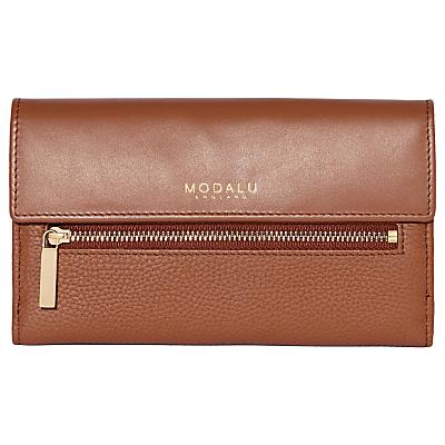 Modalu Erin Leather Continental Purse, Brown