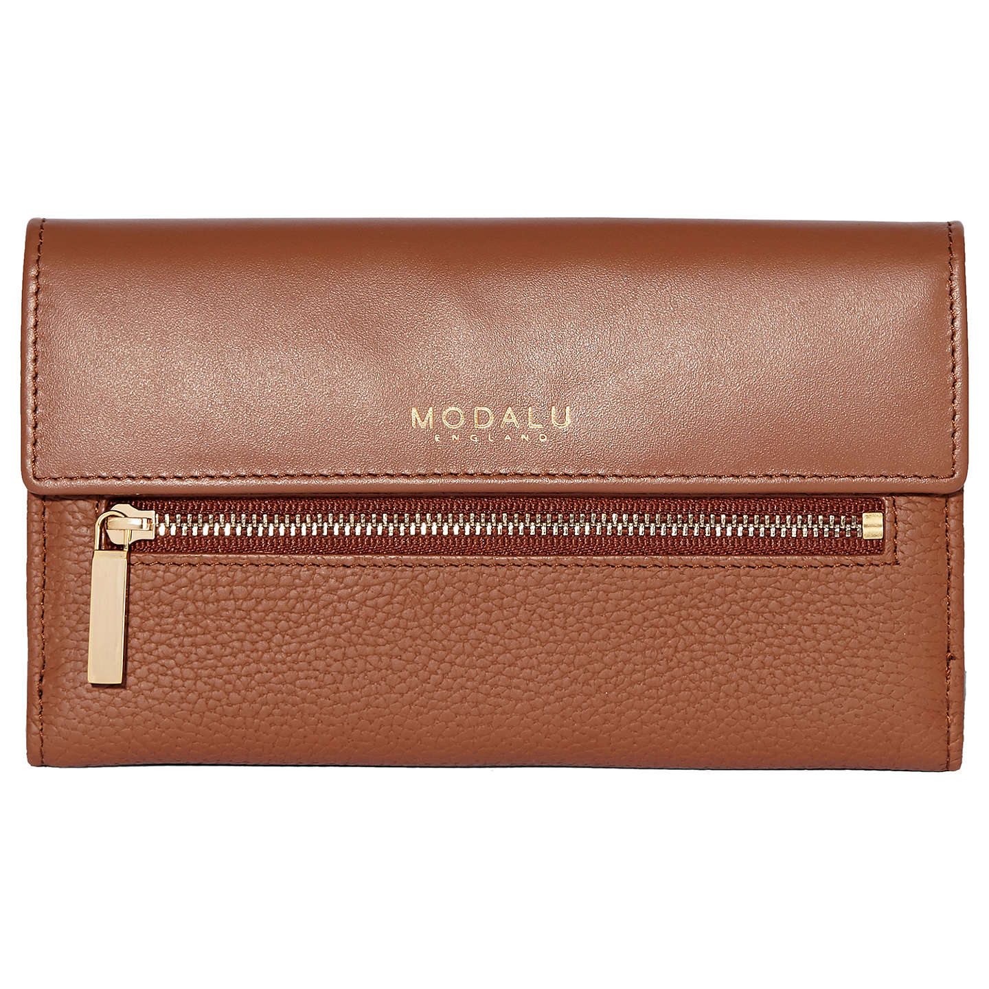 Modalu Erin Leather Continental Purse, Brown