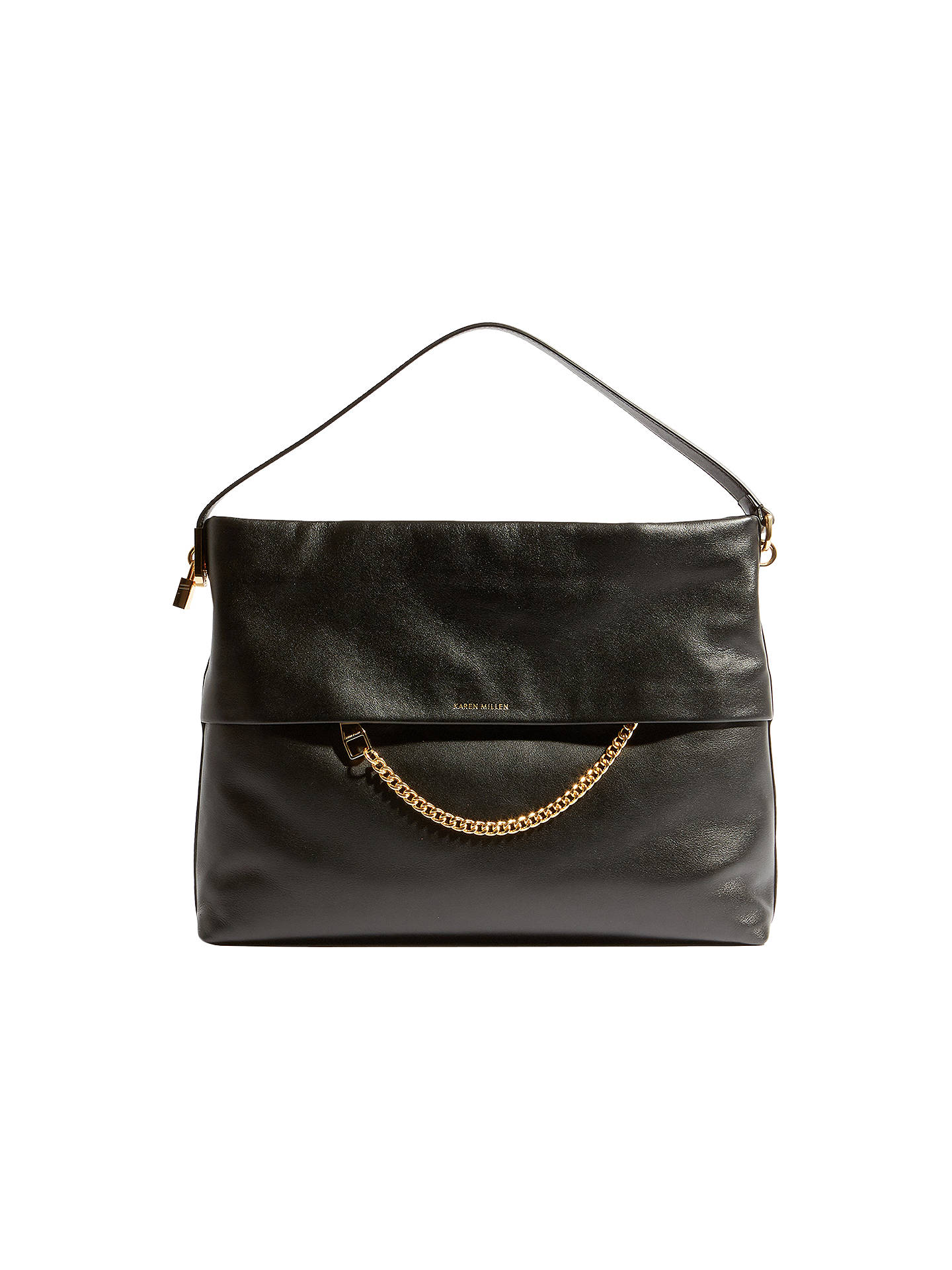 8344ae5763 Buy Karen Millen Leather Chain Zip Cross Body Bag, Black Online at  johnlewis.com ...