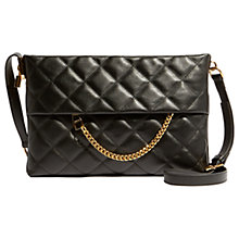 Buy Karen Millen Leather Chain Zip Cross Body Bag, Black Quilt Online at johnlewis.com