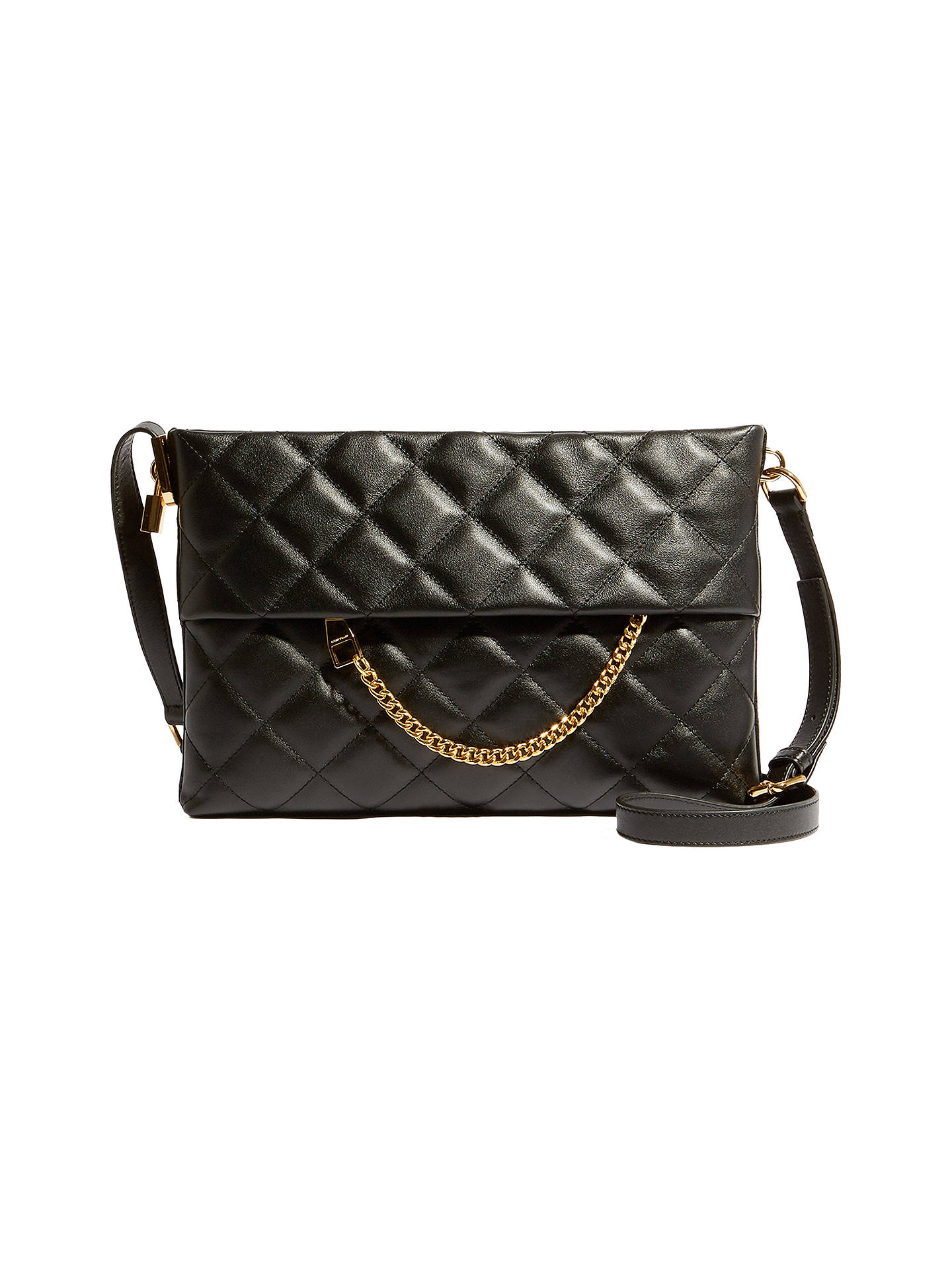 Karen Millen Leather Chain Zip Cross Body Bag Black Quilt Online At Johnlewis