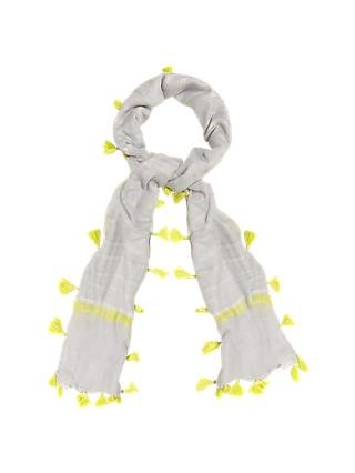 Phase Eight Brook Striped Pom Scarf, Grey/Yellow