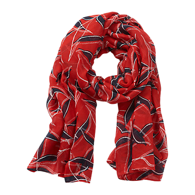 Betty Barclay Graphic Long Scarf, Red/Blue