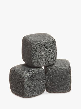 Mixology Granite Whisky Stones with Pouch, Grey, Set of 6