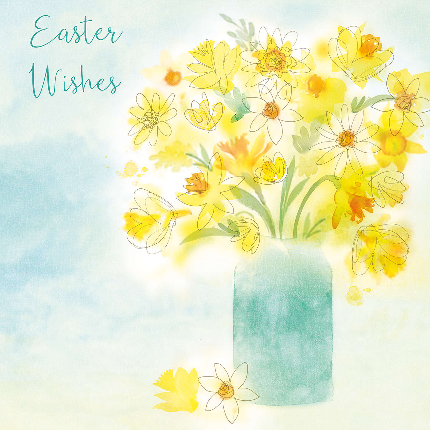 Saffron cards and gifts daffodils in vase easter greeting card at buysaffron cards and gifts daffodils in vase easter greeting card online at johnlewis negle Choice Image