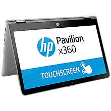 "Buy HP Pavilion X360 14-ba100na Convertible Laptop, Intel Core i5, 8GB RAM, 128GB SSD, 14"" Full HD Touch Screen, Silver Online at johnlewis.com"