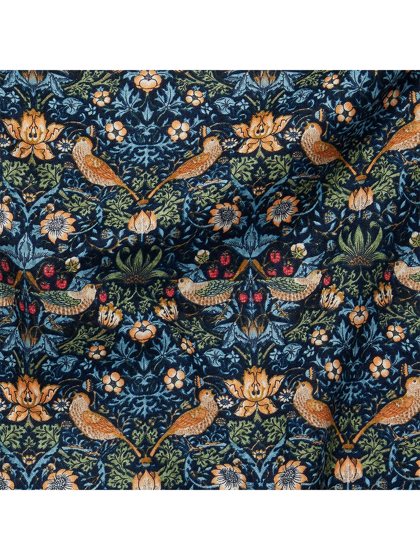 Buy Morris & Co. Mini Strawberry Thief Print Fabric, Navy Online at johnlewis.com