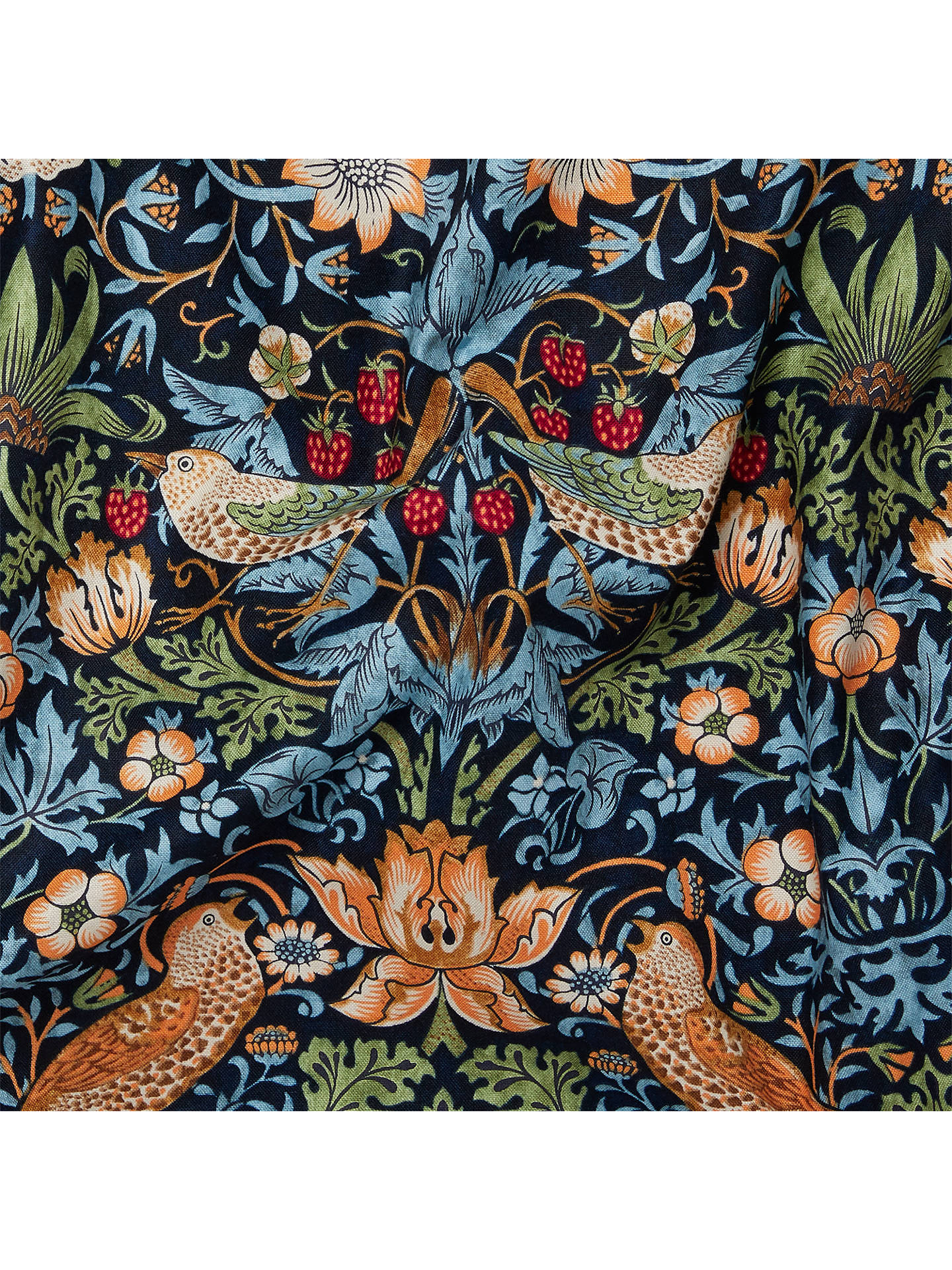 Buy Morris & Co. Strawberry Thief Fabric, Navy Online at johnlewis.com
